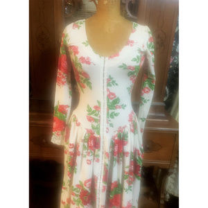 '80's Betsey Johnson cabbage rose dress